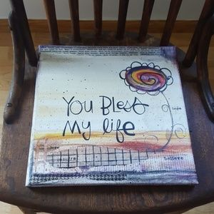 """Canvas """"You Bless my life"""" can hold photo 12x12"""